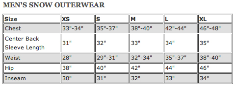 Size Charts. Skip to content. Free Shipping On Orders Over $ English Select your language. English; español; Help & Contact Storelocator Log In/Register Mens Snow Jackets Snow Pants Fleece & Insulators Snow Bags Goggles Helmets Beanies Gloves Neck Warmers View All Kids Snow Shop Snow Jackets Snow Pants Goggles & Helmets Beanies.